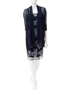 R & M Richards Navy Cocktail & Party Jacket Dresses