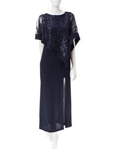 R & M Richards Lace & Sequin Poncho Gown