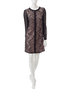London Times Pink / Black Everyday & Casual Shift Dresses