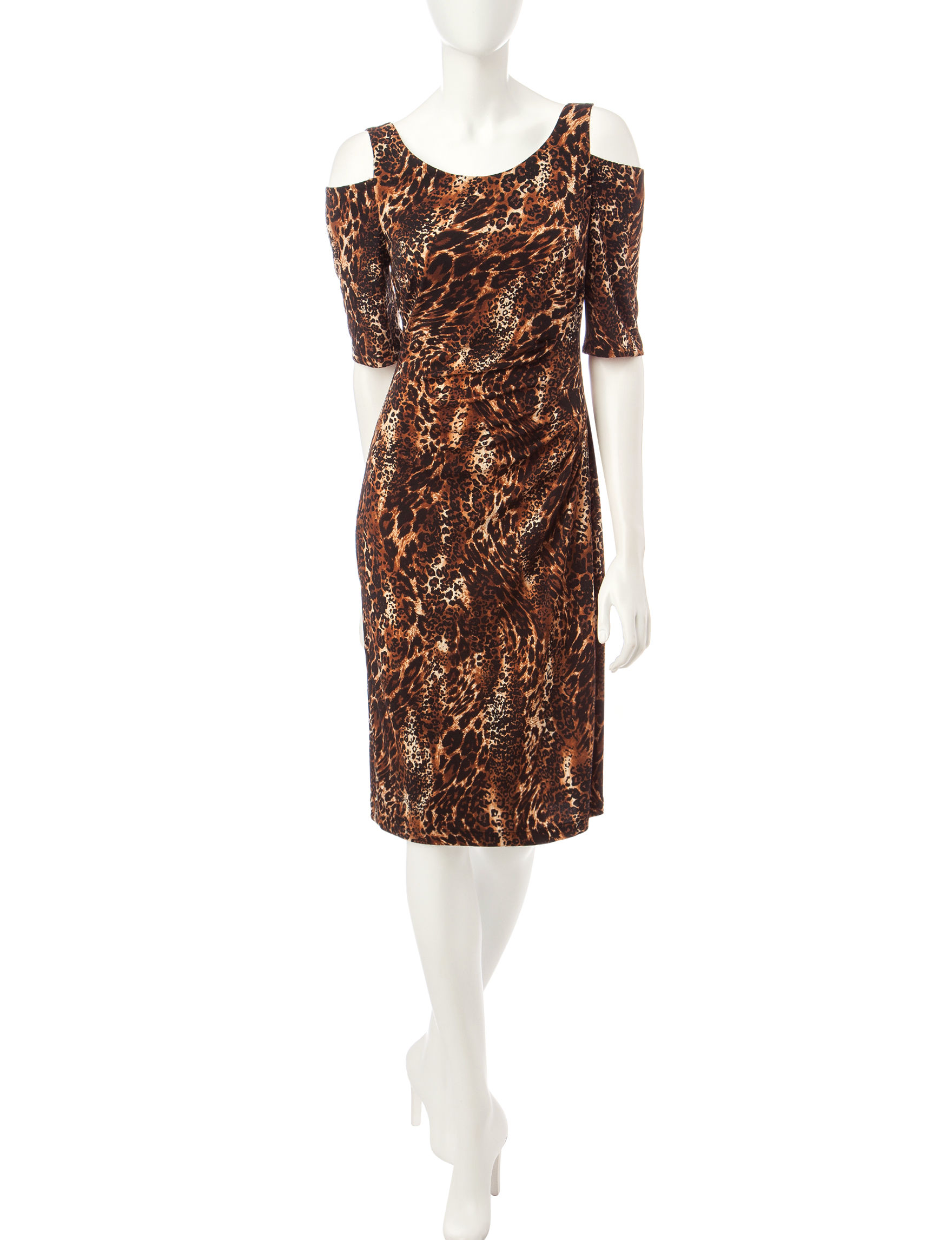 Connected Brown / Red Everyday & Casual Sheath Dresses