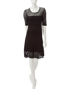 Sharagano Black Mesh Detail Dress