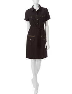 Sharagano Black Shirt Dress