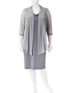Connected Grey Evening & Formal Jacket Dresses