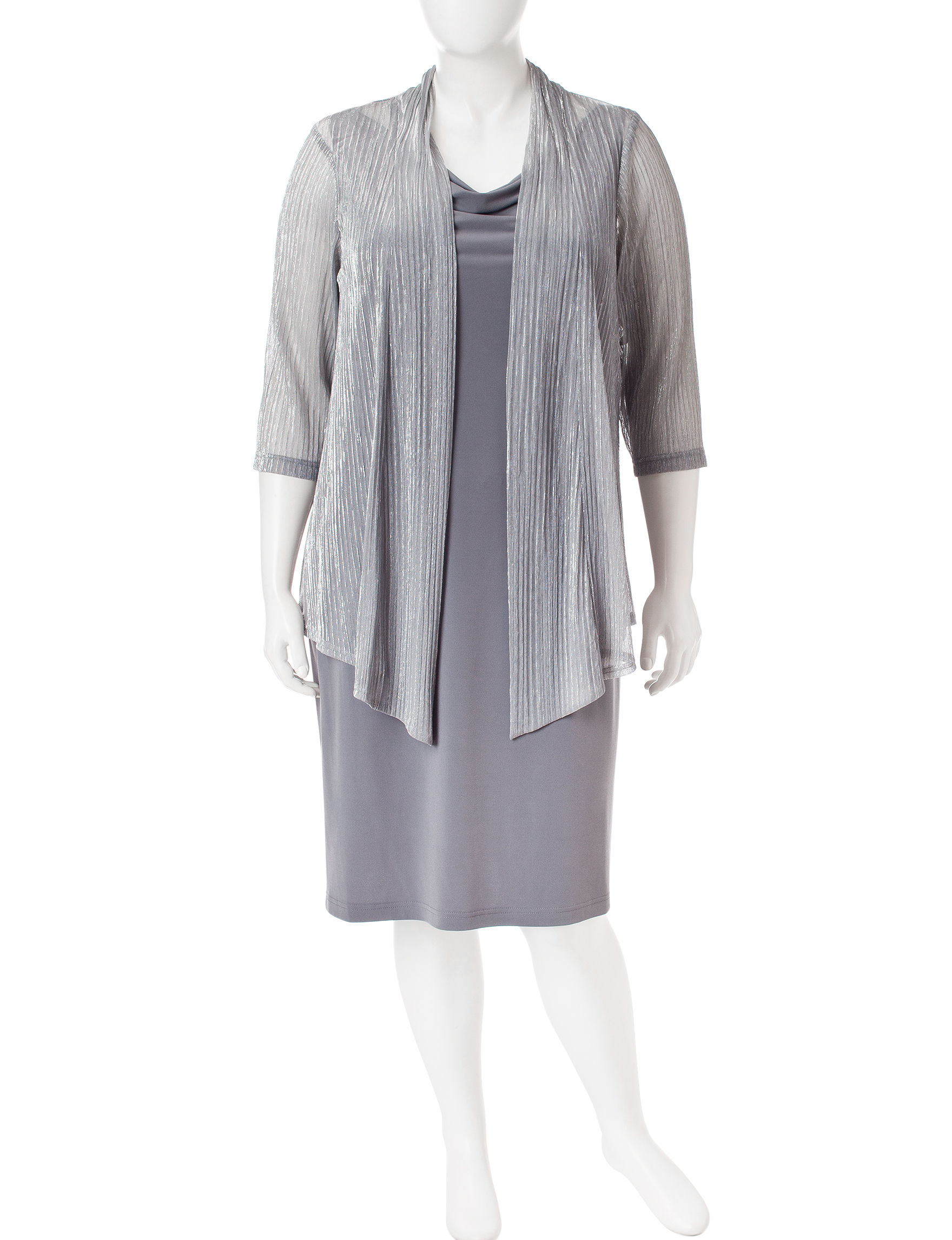 Connected Grey Evening & Formal Jacket Dresses
