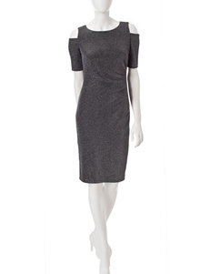 R & M Richards Black / Silver Cocktail & Party Sheath Dresses