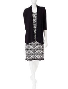 R & M Richards Black / White Everyday & Casual Jacket Dresses