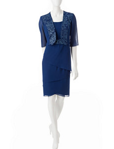 Dana Kay Blue / White Jacket Dresses