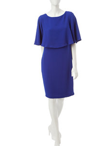 Sangria Blue Capelet Dress