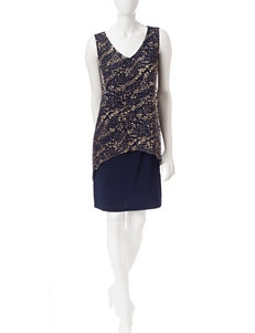S.L. Fashions Navy Cocktail & Party Evening & Formal Sheath Dresses