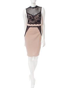 Trixxi Beige / Black Evening & Formal Sheath Dresses