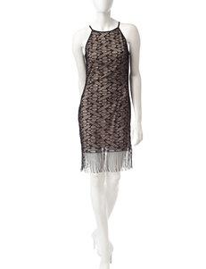 Emerald Sundae Black Lace Fringe Dress