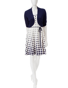 Studio 1 2-pc. Navy Jacket & White Dot Dress Set