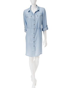 Ronni Nicole Blue Everyday & Casual Shirt Dresses