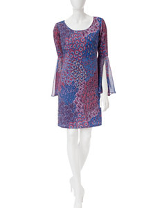 Ronni Nicole Multicolor Peacock Print Tunic Dress