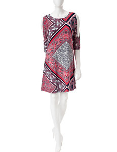 Ronni Nicole Multicolor Scarf Print Tunic Dress