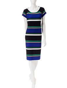 Ronni Nicole Multicolor Striped Midi Dress