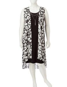 JM Studio Black / White Everyday & Casual Jacket Dresses