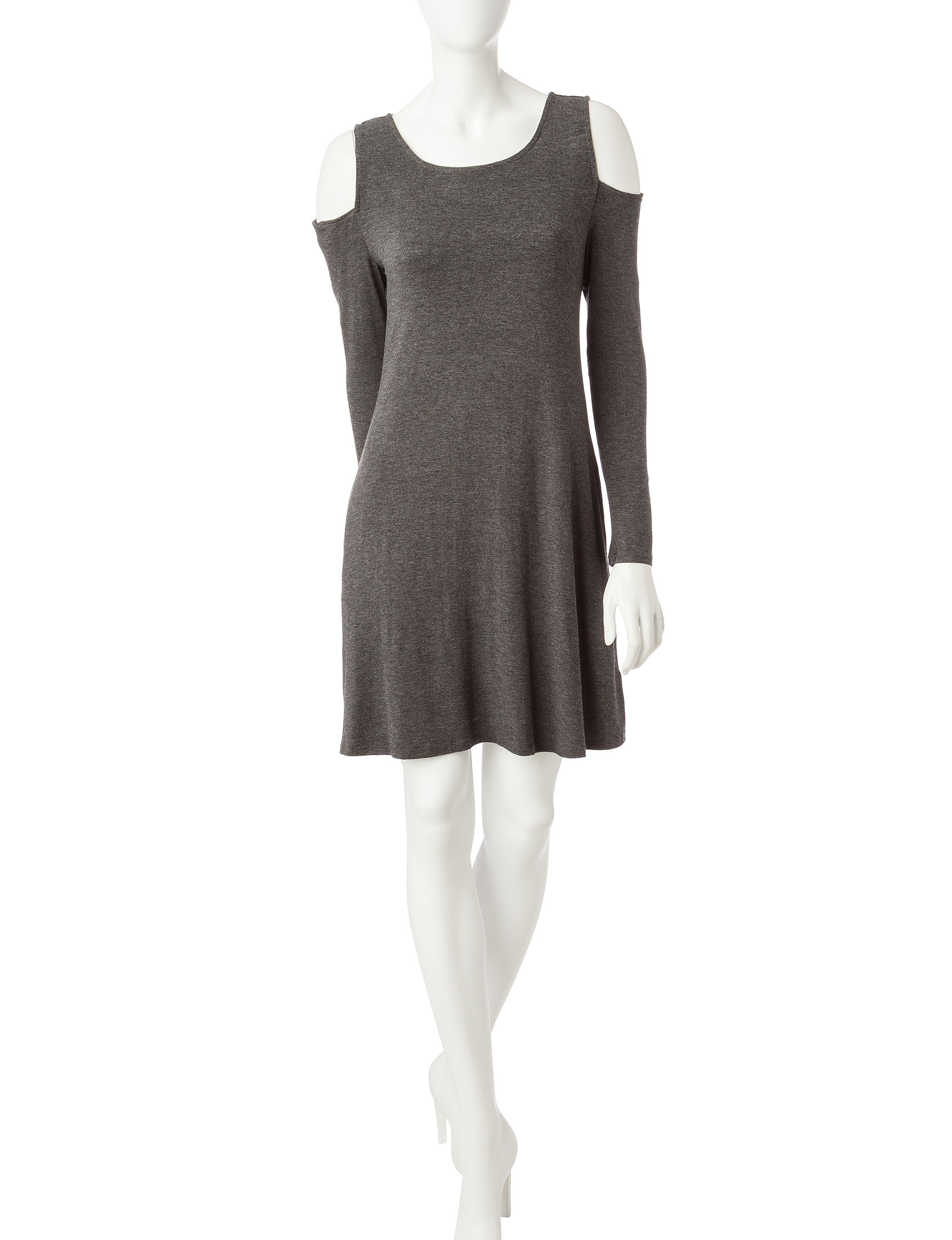 A. Byer Charcoal Everyday & Casual A-line Dresses