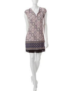 Signature Studio Geometric Print Pleated Dress