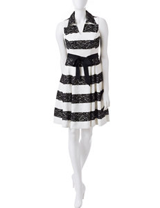 Robbie Bee Black / White Everyday & Casual A-line Dresses Fit & Flare Dresses