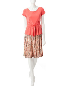 Perceptions 2-pc. Sash Top & Skirt Set