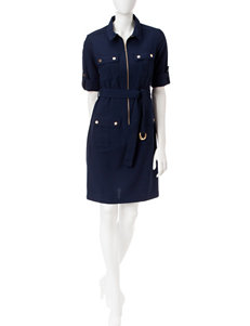 Sharagano Navy Everyday & Casual Shirt Dresses