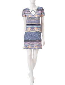 My Michelle Mixed Print Shift Dress
