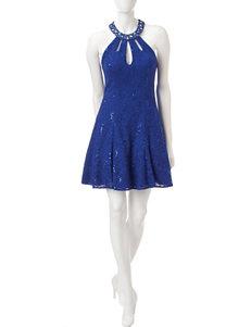 Morgan & Co. Embellished Sequin & Lace Dress