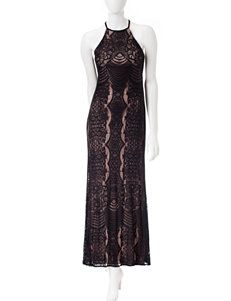 Morgan & Co. Open Back Lace Gown