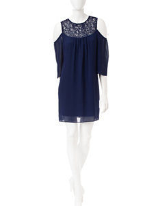 A. Byer Lace Cold Shoulder Dress