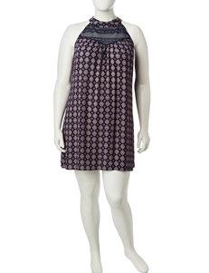 Living Doll Juniors-plus Lace Accent Shift Dress