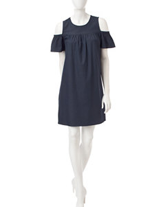 London Times Denim Cold Shoulder Dress