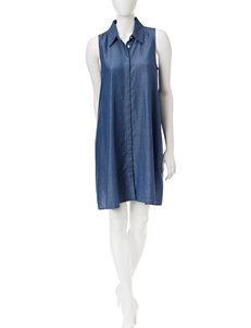 Sharagano Blue Everyday & Casual Shirt Dresses