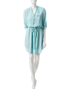 Wishful Park Zip Pocket Shirt Dress