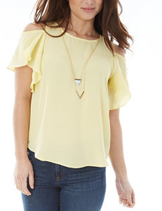 A. Byer Ruffle Cold Shoulder Top