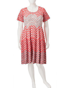 Robbie Bee Coral/ Grey Everyday & Casual A-line Dresses