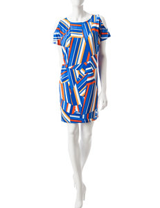 London Times Blue / Orange Everyday & Casual Shift Dresses