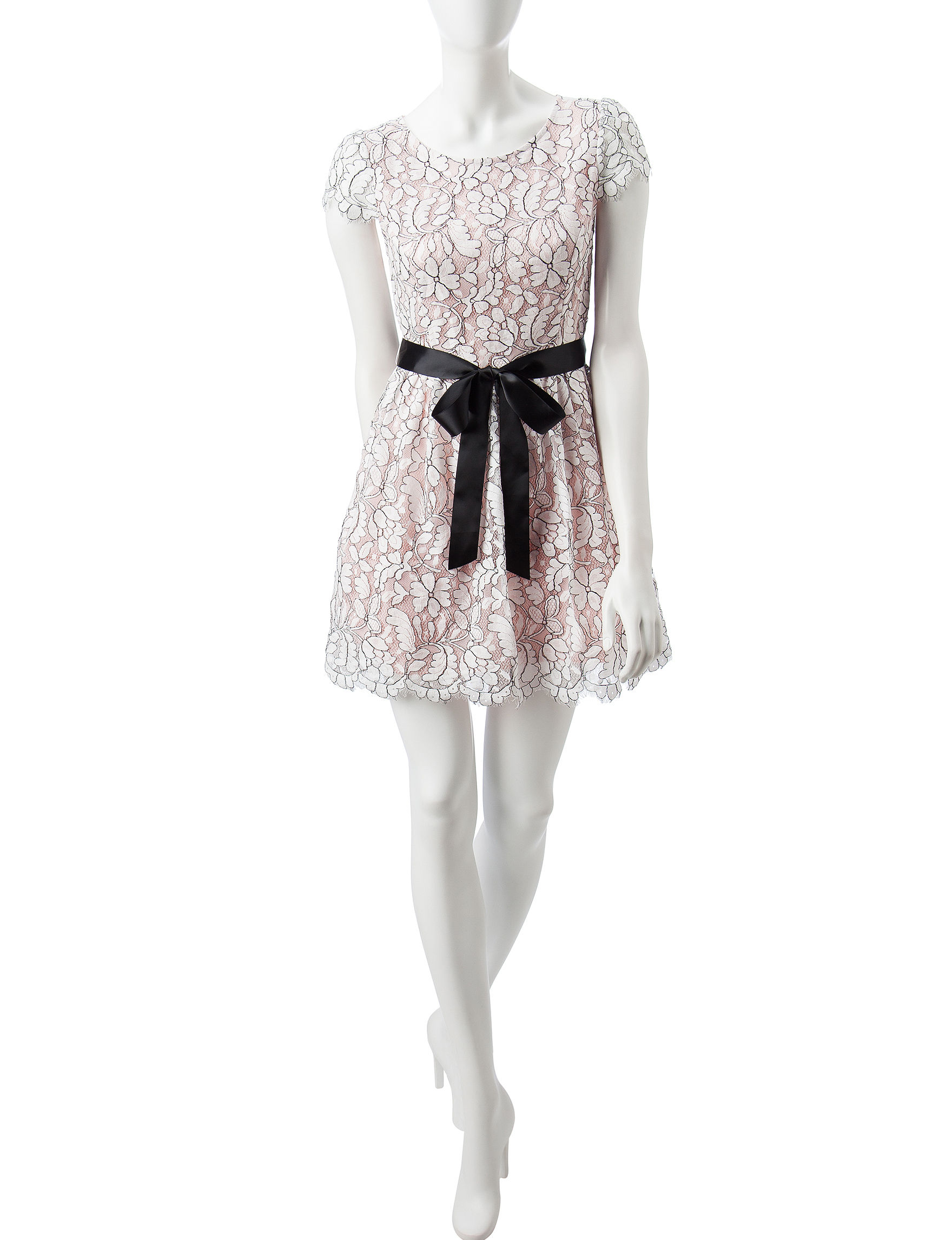 Bailey Blue Pink / White / Black Cocktail & Party Fit & Flare Dresses