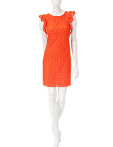 London Times Orange Everyday & Casual Shift Dresses