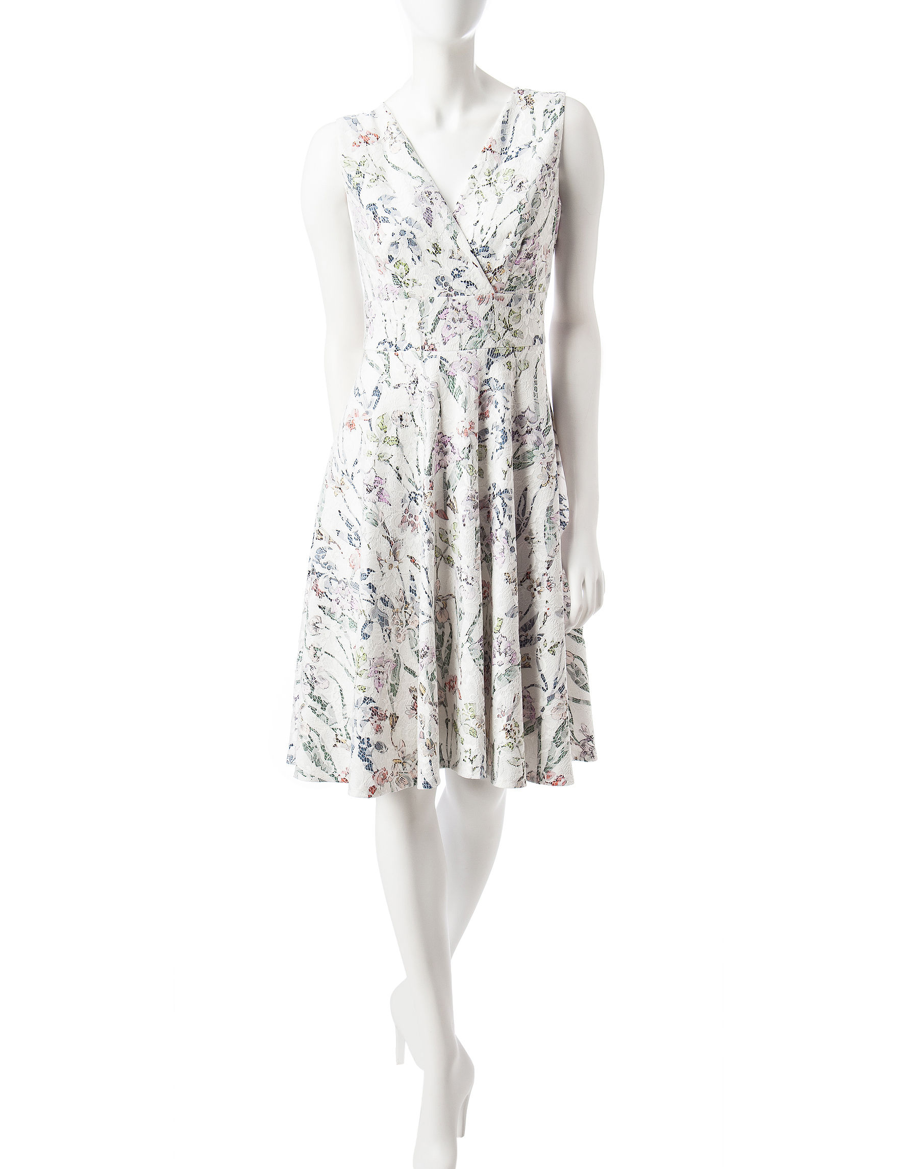 Sangria White / Multi Everyday & Casual A-line Dresses