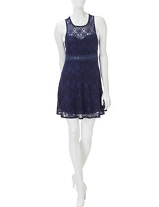 Wishful Park Navy Cocktail & Party Everyday & Casual Fit & Flare Dresses