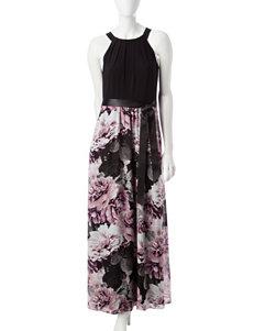 S.L. Fashions Belted Maxi Dress