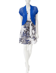 Robbie Bee Black / Blue / White Everyday & Casual Jacket Dresses
