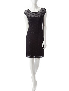 Connected Lace & Sequin Sheath Dress