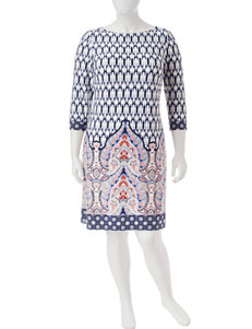 London Times Navy Everyday & Casual Shift Dresses