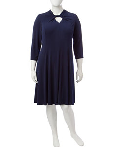London Times Indigo Everyday & Casual A-line Dresses Fit & Flare Dresses