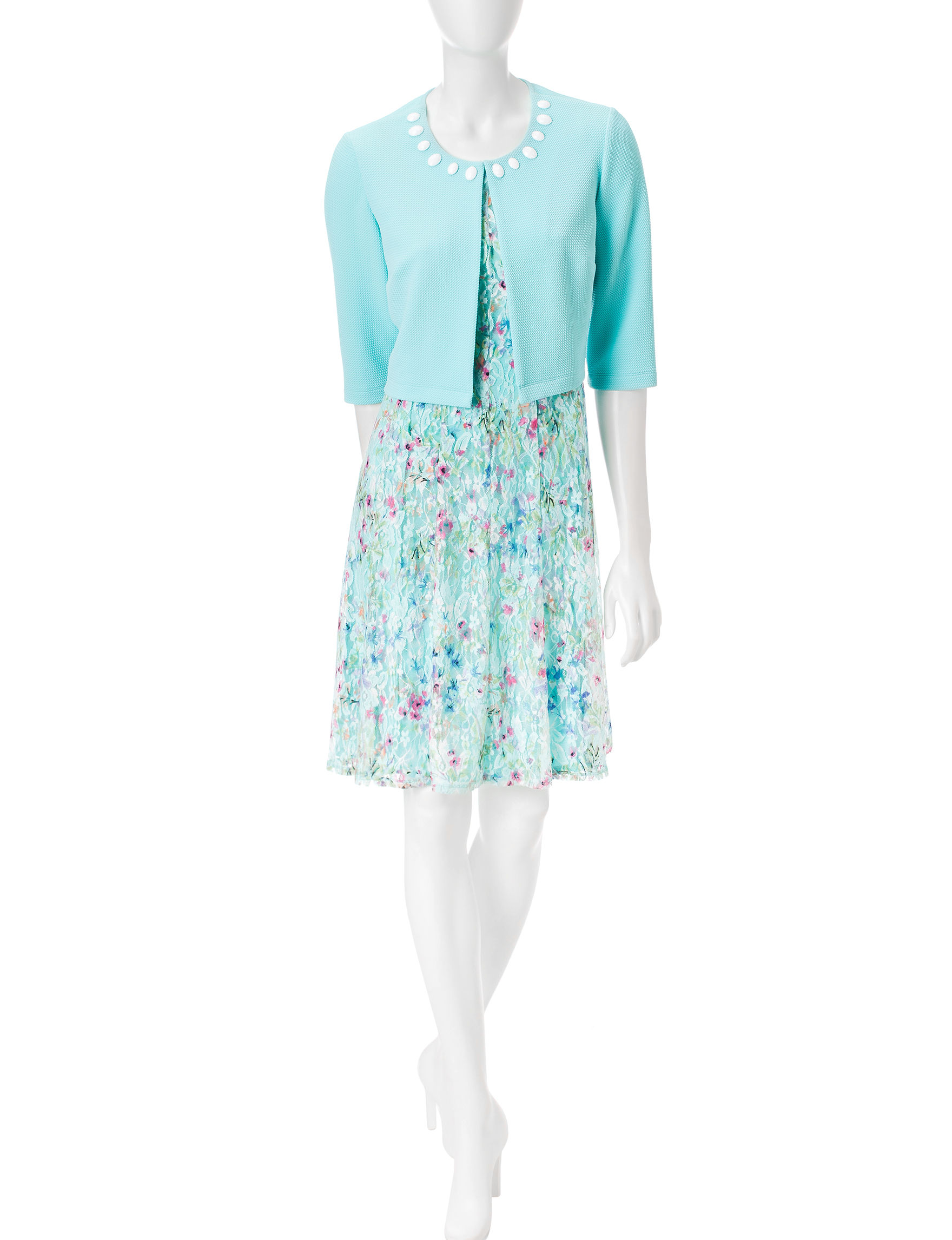Perceptions Aqua Everyday & Casual Jacket Dresses