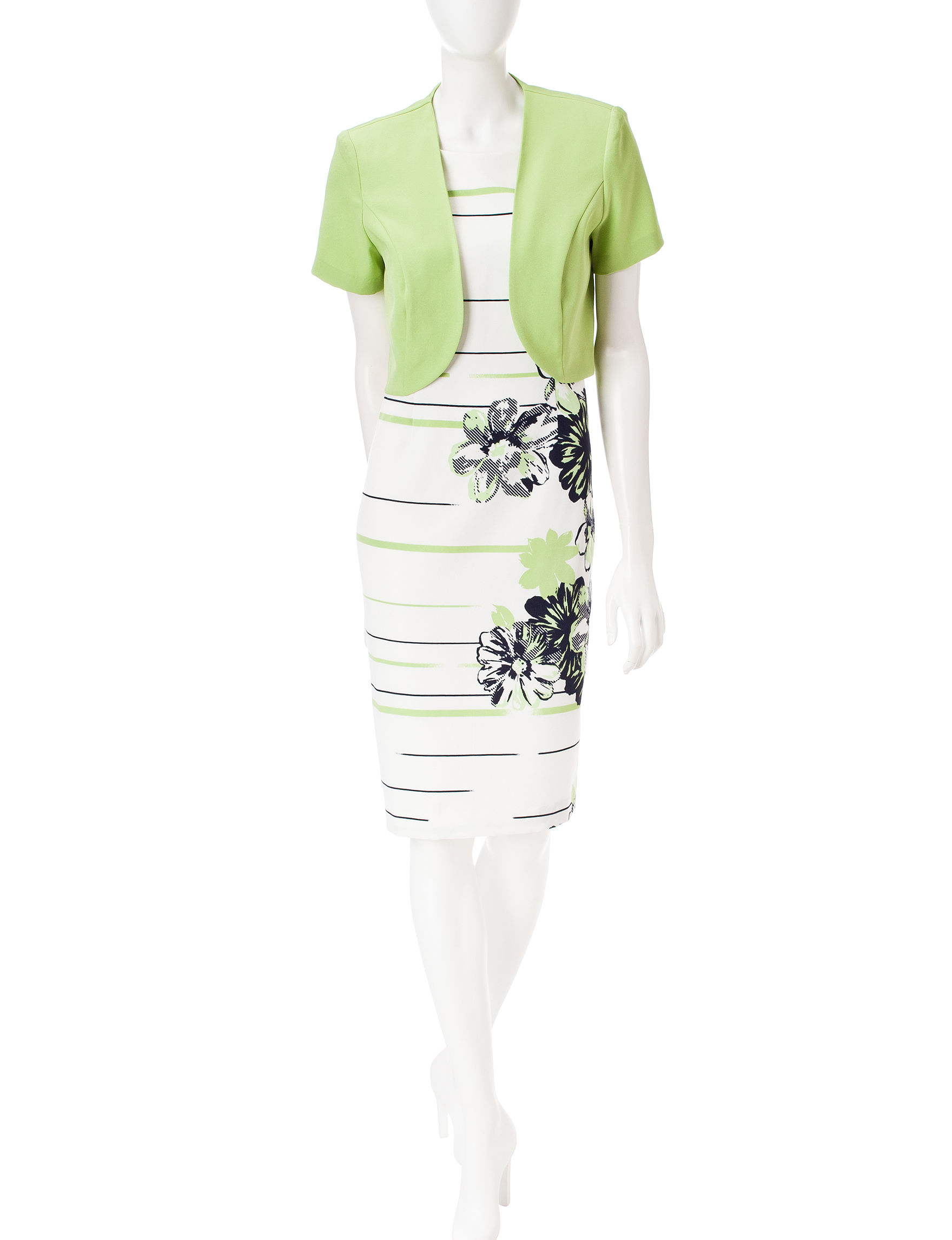 Dana Kay Green / White Everyday & Casual Jacket Dresses