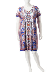 London Times Blue / Orange Everyday & Casual Sheath Dresses