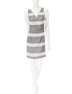 Robbie Bee Grey / White Everyday & Casual Sheath Dresses